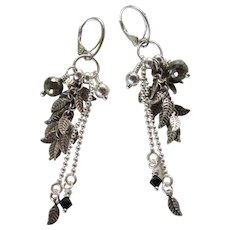 Drop Earrings ~ CHARMED ~ Pyrite, Sterling Silver, Swarovski