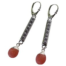 Drop Earrings ~ CHERRY FIZZ ~ Sterling Silver, Quartz