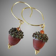 Drop Earrings ~ AUTUMN REDS ~ Artisan Lampwork, Vermeil, Swarovski Crystal
