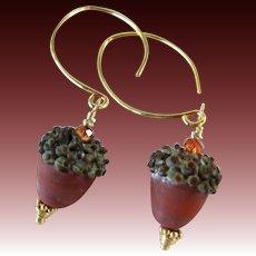 Drop Earrings ~ AUTUMN REDS ~ Artisan Lampwork, Vermeil, Swarovski Crystal