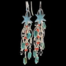 Earrings ~ DANCE OF THE STARFISH ~ Mermaid Parade Collection Turquoise, Howlite, Enamel, Sterling, Swarovski