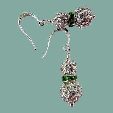 Drop Earrings ~ THE EMERALD BALLROOM ~ Swarovski Crystals, Sterling Silver