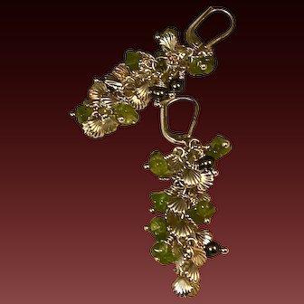 Drop Earrings ~ EMERALD SEAS ~ Peridot, Sterling, Seashell Chain