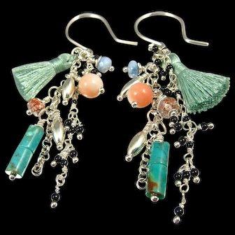 Earrings ~ FAN DANCE ~ Lots of Baby Gems & A Tassel