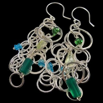 Earrings ~ GREEN GODDESS ~ Green Chalcedony, Prasiolite, Apetite, Sterling Silver
