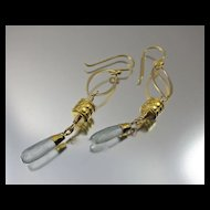 Earrings ~ GILDED LANTERNS ~ Aquamarine, 22KT Gold Leaf,Vermeil, Bronze