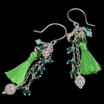 Drop Earrings ~ IRISH WALTZ ~ Howlite, Peruvian Opal, Swarovski Crystals, Tassel