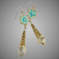 Drop Earrings ~ MARQUESA ~ Crystal Quartz, White Topaz, Enamel, Vermeil, Gold-Fill