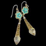 Drop Earrings ~ MARQUESA ~ Crystal Quartz, White Topaz, Enamel, Vermeil, Gold-Fill