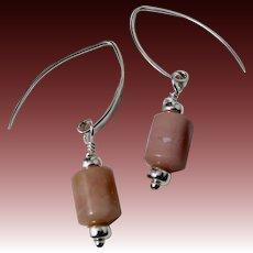 Drop Earrings ~ MARZIPAN ~ Peruvian Pink Opal, Sterling Silver