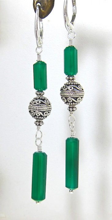 Drop Earrings Night Out In Oz Emerald Green Chalcedony Bali Silver