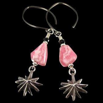 Drop Earrings ~ GREAT PINK COMETS ~ Rhodochrosite, Sterling Silver