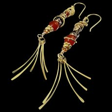Fringe Earrings ~ RED WITCH ~ Carnelian, Swarovski crystal, Vermeil, Gold Fill