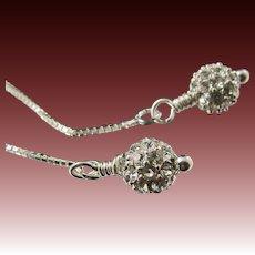 Thread Earrings ~ STUDIO 54 ~  Swarovski crystals, sterling silver