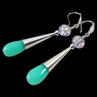 Drop Earrings ~ A SCOOP OF SPEARMINT ~ Chrysoprase, Pink Amethyst, Sterling Silver