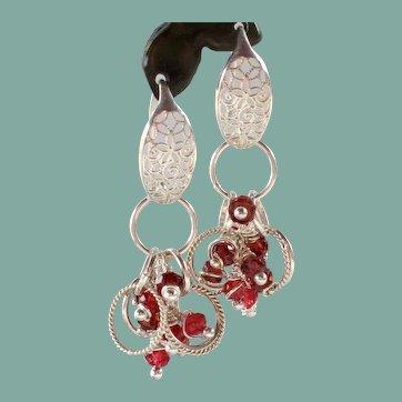 Drop Earrings ~ CRANBERRIES ~ Garnet, Sterling Silver
