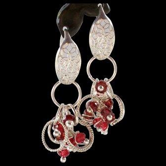 Earrings ~ SEA BERRIES ~ Garnet, Sterling Silver