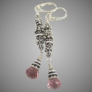 Drop Earrings ~ VALENTINE FLUSH ~ Bali Sterling, Pink Quartz