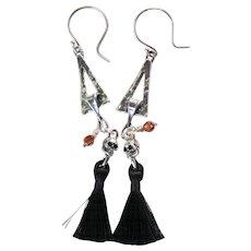 Tasselated Drop Earrings ~ WICKED ~ Sterling Silver, Tassels, Swarovski Crystals