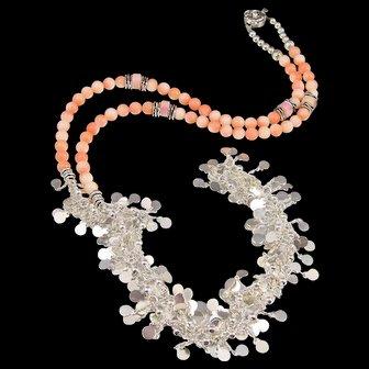 Long Necklace ~ ANGEL CLARE ~ Vintage Angel Skin Coral, Sterling Silver