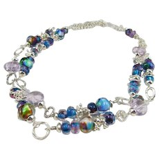 Long Necklace ~ AMAZING BLUES ~ Artisan Lampwork, Pink Amethyst, Sterling Silver