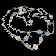 Long Necklace ~ CAROUSEL WITH BLUE ~ Peruvian Opal, Lemon Quartz Moonstone, Pyrite, Chalcedony, CF Pearl, Sterling