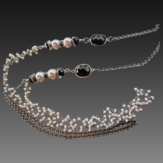 Multi-Strand Long Necklace ~ LADY MIDNIGHT~ Sterling, Onyx, Cultured Freshwater Pearls, Gunmetal Chain