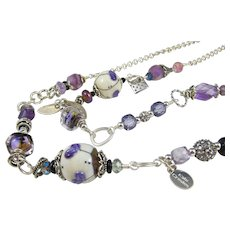 long station necklace ~ FIRST CROCUS ~ amethyst, artisan lampwork, sterling silver