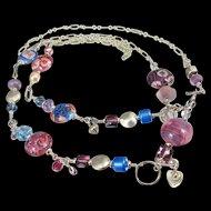 Body Necklace ~ DAMSON DAMSELS ~ Designer Lampwork, Sterling Silver