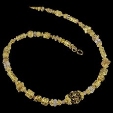 Necklace Pendant ~  GILDED CELEBRATIONS ~ Vermeil, Gold Fill, Bali, Swarovski Crystal