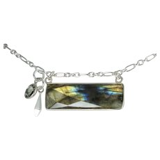 Short Necklace ~ FAB LAB ~ Blue Flash Labradorite, Sterling Silver