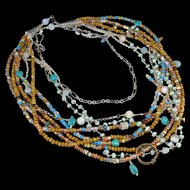 Multi-Strand Long Necklace ~ THE OPEN ROAD ~ Seed Beads, Agate, Turquoise, Amazonite, Sterling Silver