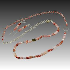 Long Necklace ~ PANDEMONIUM ~ Pink Peruvian Opal, Spiny Oyster, Coral Howlite, Sterling Silver