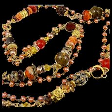 Long Necklace ~ SPICEBOX OF THE RED WITCH ~ Golden Bohemian Beauty with semi-precious stones