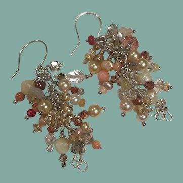 Drop Cluster Earrings ~ JUBILEE ~ Multi-gemstones, sterling silver