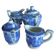 SWEET and Vintage Two Blue Willow Creamer and Sugar Sets for Child Play Sets