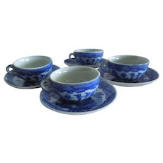 CHARMING Child Size Blue Will Cups and Saucers Replacement Pieces for Vintage Play Sets