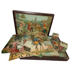"""Wonderful and Old 14"""" x 10"""" Boxed Set of 24 Wooden Cube Blocks with Lithographed Scenes...Original Box! - Red Tag Sale Item"""