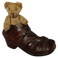 "WONDERFUL 3.5"" Very Early and Old Teddy Bear in a Hand Carved Folk Art Shoe"