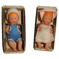 MIB Pair of Kerr and Hinz Dressed Baby dolls.