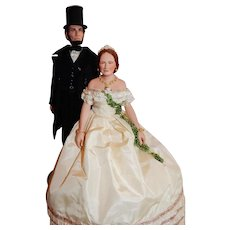 MAGNIFICENT 1980's United States Historical Society Abe and Mary Todd Lincoln Dolls