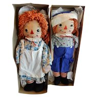 """GREAT Pair of 23"""" Georgene Novelties Raggedy Ann and Andy Dolls circa 1951"""