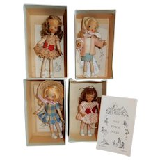 AWESOME Lot of 4 Tiny Town Dolls c. 1940's