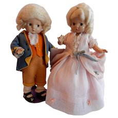 SWEET Vintage Effanbee Patsyettes as George and Martha Washington.