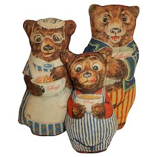 CHARMING Set of Kellogg's Advertising Three Bears c.1926