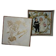 """GREAT 2 1/2"""" German all-bisque Bride and Groom cake topper in original presentation box"""