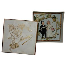 "GREAT 2 1/2"" German all-bisque Bride and Groom cake topper in original presentation box"