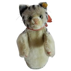 SO CUTE Vintage Steiff Tabby Cat Glove Puppet c. 1950's