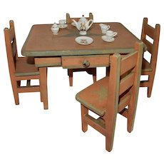 DELIGHTFUL Vintage Doll Size Table w/Chairs  Hummel Tea Set and More.