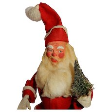CHEERFUL Vintage Paper Mache Santa c.1930's